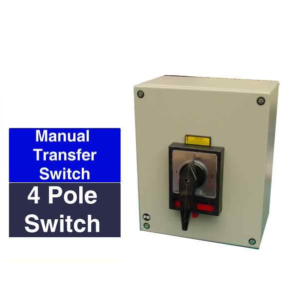 Compact manual changeover switch - 4 pole rated from 20Amps to 125 ...